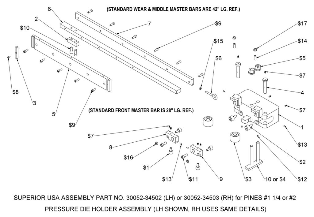 Bender Supply Superior USA Pines Bender Series 300 Pressure Die Holder Assembly (#1¼ & #2)