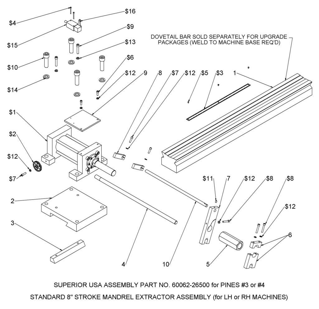 Bender Supply Superior USA Pines Bender Series 600 Mandrel Extractor Assembly #3 & #4