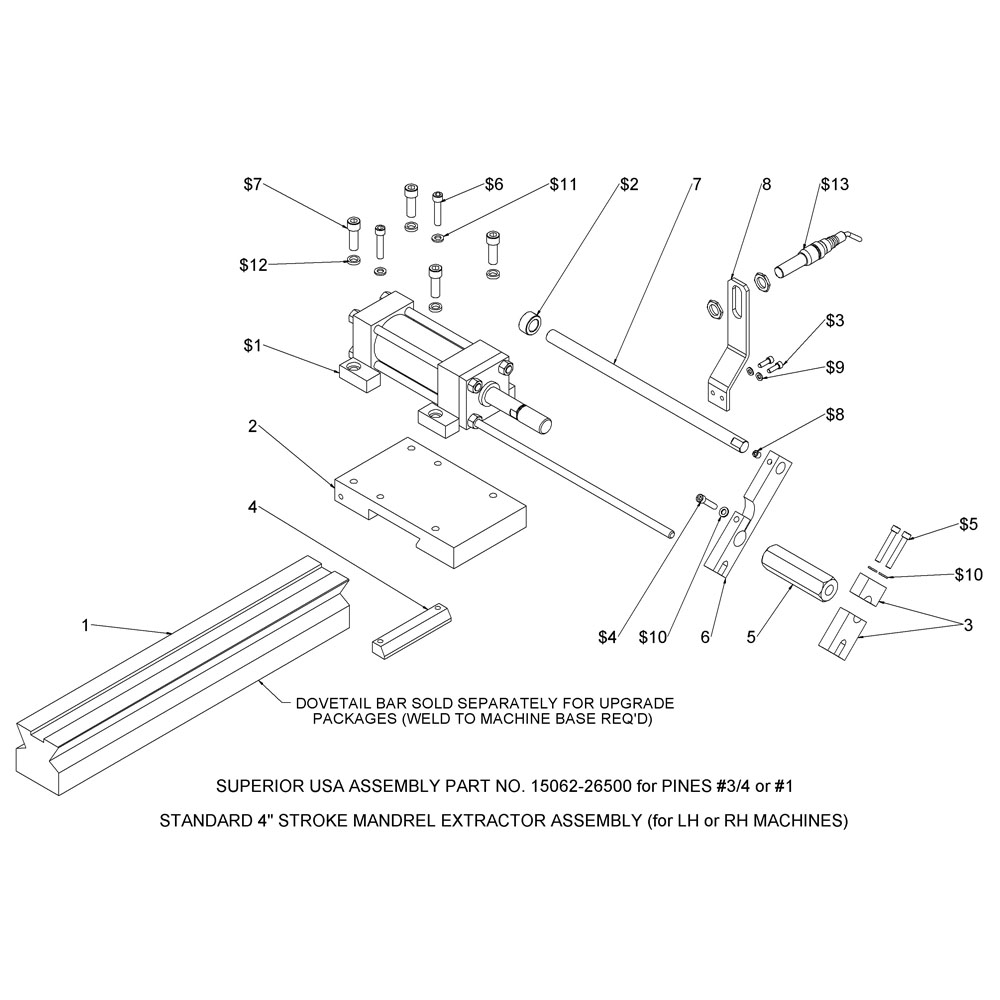 Series 150 Mandrel Extractor Assembly (#¾ & #1)