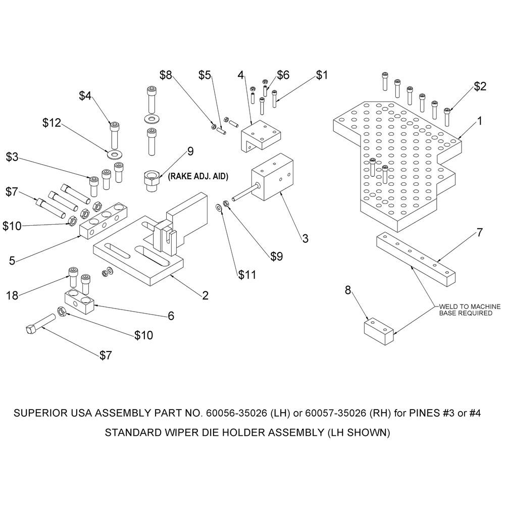 Pines Bender Series 600 Wiper Die Holder Assembly (#3 & #4)